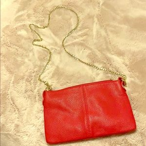 Red leather crossbody with gold chain